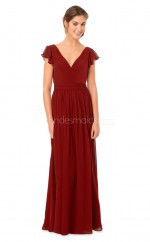 Burgundy Chiffon Long V Neck Bridesmaid Dress with Short Sleeves NZBD1875