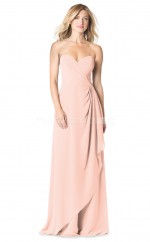 Sheath Sweetheart Neckline Chiffon Pearl Pink Long Bridesmaid Dress NZBD1876