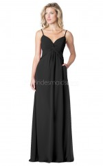 Straps Chiffon Black Long Bridesmaid Dress NZBD1878