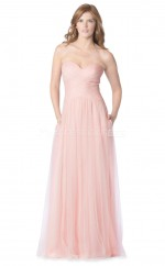 Long Blushing Pink Sweetheart Neckline Tulle Bridesmaid Dress NZBD1879