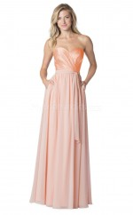 Stretch Satin and Chiffon Sweetheart Neckline Long Pink Bridesmaid Dress NZBD1882