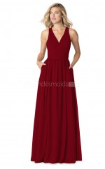 Burgundy Chiffon V Neck Long Bridesmaid Dress NZBD1887