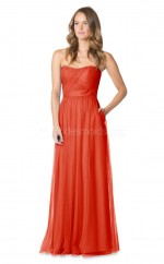 Long Bright Orange Strapless Tulle Bridesmaid Dress NZBD1889