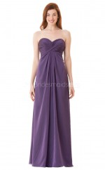 Chiffon Long Sweetheart Neckline Purple Bridesmaid Dress NZBD1890