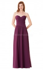 Long Sweetheart Neckline Chiffon Dark Fuchsia Bridesmaid Dress NZBD1893