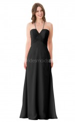 Black Long Chiffon Halter Bridesmaid Dress NZBD1894