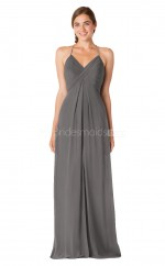 Halter Chiffon Silver Long Bridesmaid Dress NZBD1896