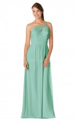 MIdium Aquamarine Chiffon One Shoulder Long Bridesmaid Dress NZBD1897
