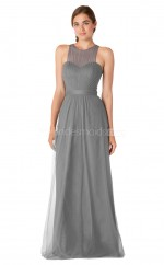 Long Silver Halter Tulle Bridesmaid Dress NZBD1899