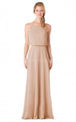 Long Jewel Neck Chiffon Wheat Bridesmaid Dress NZBD1903