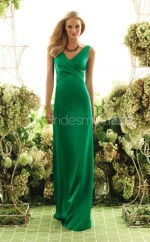 Clover Charmeuse Sheath V-neck Floor-length Vintage Bridesmaid Dresses (NZBD06191)