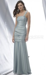 Silver Taffeta Mermaid One Shoulder Long Bridesmaid Dresses (NZBD06192)