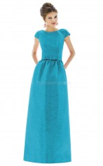 Ocean Blue Taffeta Princess Scoop Long Bridesmaid Dresses (NZBD06195)