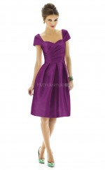 Regency Satin A-line Scoop Neckline Knee Length Bridesmaid Dresses (NZBD06197)