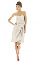 Ivory Satin A-line Strapless Short Bridesmaid Dresses (NZBD06202)