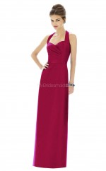 Fuchsia Satin Sheath Halter Long Bridesmaid Dresses (NZBD06204)