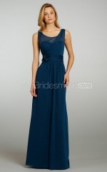 Ink Blue Chiffon A-line Scoop Long Bridesmaid Dresses (NZBD06206)