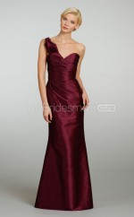 Fuchsia Satin Mermaid One Shoulder Long Bridesmaid Dresses (NZBD06207)