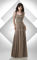 Brown Chiffon A-line Halter Long Bridesmaid Dresses (NZBD06215)