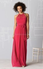 Red Silk Like Chiffon Sheath Halter Floor-length Vintage Bridesmaid Dresses (NZBD06217)