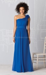 Ocean Blue Silk Like Chiffon A-line One Shoulder Long Bridesmaid Dresses (NZBD06218)