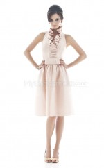 Pearl Pink Satin Chiffon A-line Scalloped Neckline Knee Length Vintage Bridesmaid Dresses (NZBD06221)