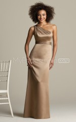 Champagne Charmeuse Sheath One Shoulder Long Bridesmaid Dresses (NZBD06223)
