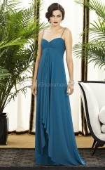 Ink Blue Silk Like Chiffon A-line Straps Floor-length Vintage Bridesmaid Dresses (NZBD06225)