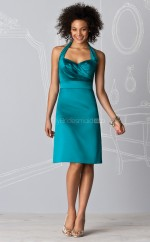 Jade Satin Sheath Halter Knee-length Bridesmaid Dresses (NZBD06227)