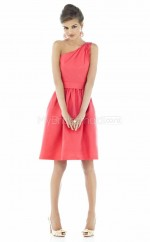 Watermelon Satin A-line One Shoulder Knee-length Vintage Bridesmaid Dresses (NZBD06228)