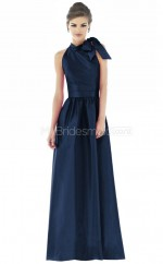 Ink Blue Satin A-line Halter Long Bridesmaid Dresses (NZBD06229)