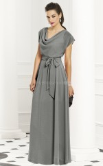 Silver Chiffon A-line Cowl Long Bridesmaid Dresses (NZBD06234)
