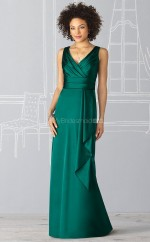 Jade Charmeuse Mermaid V-neck Long Bridesmaid Dresses (NZBD06235)