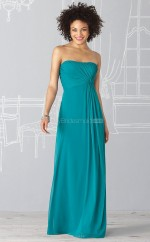 Ocean Blue Chiffon A-line Strapless Long Bridesmaid Dresses (NZBD06238)