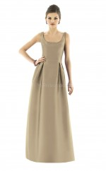 Brown Satin Princess Straps Long Bridesmaid Dresses (NZBD06245)