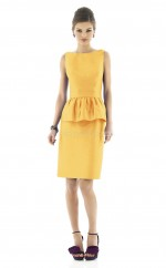 Yellow Taffeta Sheath Bateau Neckline Short Bridesmaid Dresses (NZBD06246)