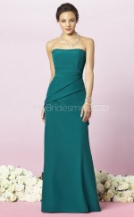 Jade Satin Chiffon Sheath Strapless Long Bridesmaid Dresses (NZBD06254)