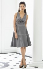 Silver Matte Satin A-line V-neck Short Bridesmaid Dresses (NZBD06255)