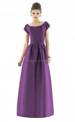 Lilac Satin Princess Scoop Long Bridesmaid Dresses (NZBD06257)