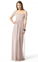 Silver Silk Like Chiffon Sheath Off The Shoulder Floor-length Vintage Bridesmaid Dresses (NZBD06260)