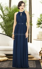 Ink Blue Silk Like Chiffon A-line Jewel Floor-length Vintage Bridesmaid Dresses (NZBD06262)