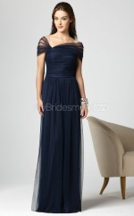 Ink Blue Tulle Sheath Off The Shoulder Floor-length Vintage Bridesmaid Dresses (NZBD06265)