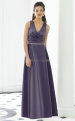 Lavender Satin Princess V-neck Long Bridesmaid Dresses (NZBD06267)