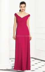 Fuchsia Chiffon Princess Off The Shoulder Long Bridesmaid Dresses (NZBD06271)