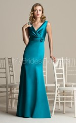 Jade Charmeuse Sheath V-neck Long Bridesmaid Dresses (NZBD06275)