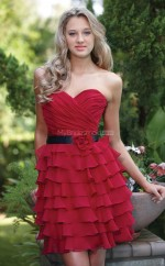 Red Chiffon Princess Sweetheart Neckline Short Bridesmaid Dress For Beach(NZBD06277)