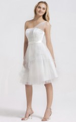 White Tulle Princess One Shoulder Knee-length Vintage Bridesmaid Dresses (NZBD06278)