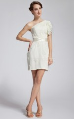 Ivory Chiffon Sheath One Shoulder Short Bridesmaid Dresses (NZBD06292)