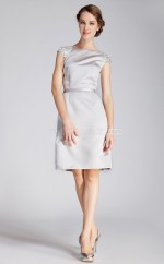 Silver Satin A-line Bateau Neckline Knee Length Bridesmaid Dresses (NZBD06294)