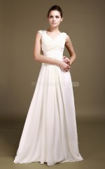 White Chiffon A-line V-neck Floor-length Vintage Bridesmaid Dresses (NZBD06300)
